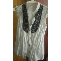 Camisa Algodon Spandex Gris Y Detalle Encaje Negro Natasha