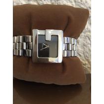 Moderno Reloj Original Gucci Dama Acero Cristal Zafiro