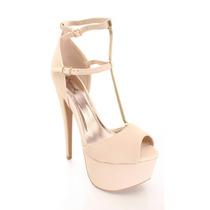 Zapatos Nude Garota Tacones Talla 39 U 8 1/2