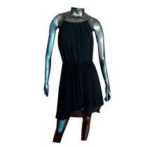 Vestido Corto Negro Gasa Apliques Dorados Talle Unico Nofret