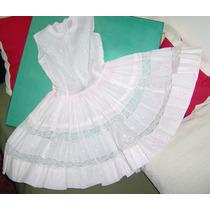 Vestido Rosa Casi Blanco Bordado A Mano C/puntillas Olivos