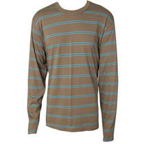 Camiseta Masc Básica Mg Longa Listas Marrom/azul Tam P R3058