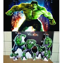Kit Cenário Display De Chão Hulk 8 Peças + Painel 1,40x1,00m