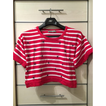 Remera Sweater Hilo Rayado Bordado Blanco Rojo Marca Zara