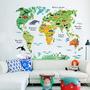 Adesivo Decorativo Mapa Do Mundo Colorido + Animais Diversos