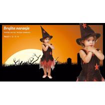 Disfraz Halloween Bruja Negro Naranja Tul Con Gorro Estrella