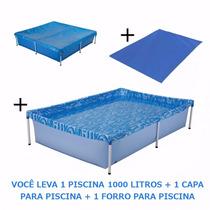 Kit Piscina Infantil 1000 L + Capa + Forro Mor