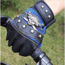 Luva Couro Caveira Tatica Moto Ciclismo Heavy Punk Dark Rock