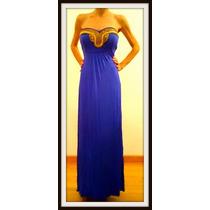 Vestido Largo Strapless Caida Perfecta En Azul Y Negro