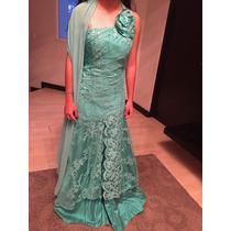 Vestido Largo De Diseñador Color Aqua Hermoso Remato
