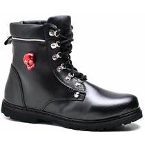 Bota Coturno Adventure Hip Hop Rock And Roll Caveira Couro