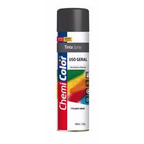 Tinta Spray Uso Geral Preto Fosco 400ml Chemicolor