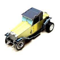 Juguete Armable Carro Antiguo Amarillo Con Motor De Cuerda