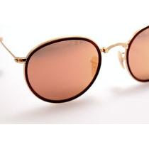 Óculos Sol Rb3517 Rayban Round Dobravel +promoção+brinde