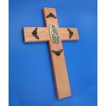Cruz De Madera Con Virgen En Latón Viejo