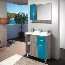 Gabinete / Armário P/ Banheiro Kit Pisa 80cm Balcão+esp+cuba