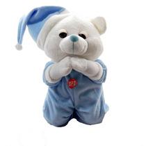 Urso Que Reza Pai Nosso Pijama E Gorro Azul Bicho Pelucia