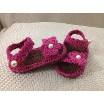 Sandalia Zapato Crochet Color Elección Bebe Perlas Oferta