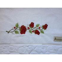 Toalha De Banho Bordada De Rosas: Presente Dia Das Mães