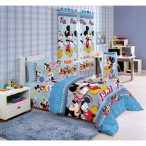 Kit Mickey 5 Pçs - Edredom + Jogo Cama 3 Pçs + Toalha Banho