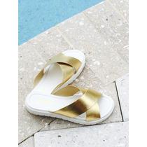Sandalias Suela Blanca Con Dorada Elegantísimas Y Muy Cómoda