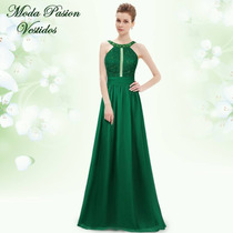 Vestido De Fiesta Formal Con Tranparencia Verde Moda Pasión