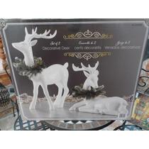Set Decorativo Figuras Venados Navideños Blancos