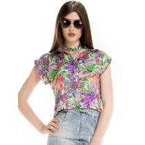 Camisa Cropped Principessa Iohana Estampada Floral