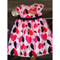 Bello Vestido Gumboree Talla 2 Con Diseño De Corazones