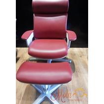 Cadeira Lounge Moln Nuvem Em Couro Vermelho Frame Branco