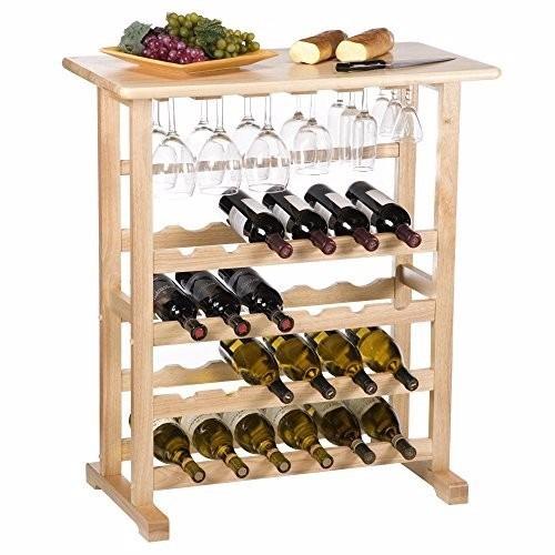 Estante para vino 24 botellas y copas en madera haya natural 2 en mercado libre - Estantes para vinos ...