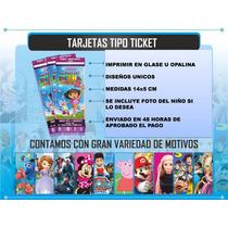Invitacion Digital Moderna Fiestas Infantiles Tipo Tickets