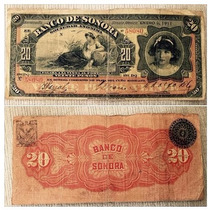 Billete Banco De Sonora 20 Pesos 1911