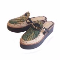 Clippate Zuecos En Cuero Zapatos Mujer Suela Goma Tachas