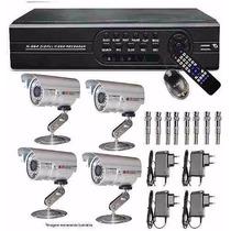 Kit Cftv Dvr 8 Canais + 4 Câmeras Ccd Infra 1200 Linhas 8ch