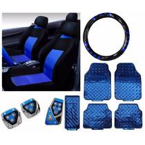 Kit Azul Tapetes Capa Banco E Volante Pedaleira Frete Grátis
