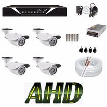 Kit Monitoramento 4 Cameras Ahd Hdcvi 720p Dvr 4 Canais Hd !