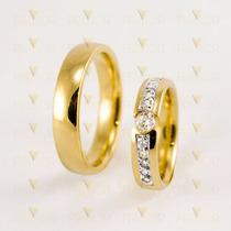 Par De Alianças Em Ouro Diamante De 10 Pontos 14g Par Al026
