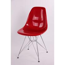 Cadeira Charles Acabamento Brilhante Abs -pes Eiffel Cromada