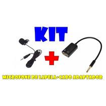 Kit Microfone De Lapela Stereo+adaptador P2 Para Celulares