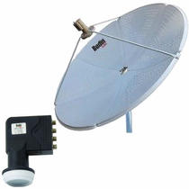 Kit Antena 1,50 Cm Ku Bedin Sat Oi Tv Hd + Lnbf Quadr + Cabo