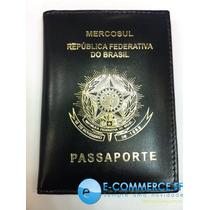 Porta Passaporte Couro Legítimo Mercosul Republica Do Brasil
