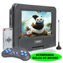 Dvd Portatil Tv 7 Sd Usb Fm Mp3 Bolsa Infantil Assista Carro