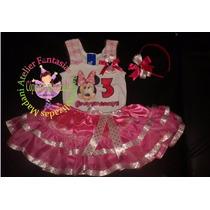 Vestido Fantasia Roupa Aniversário Luxo Minnie Rosa Pink