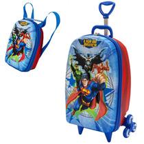 Mochila Com Carrinho 3d Liga Da Justiça Superman + Lancheir