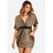 Vestido Feminino Curto Casuais Ou Festa Onça Estampado Verão