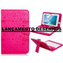 Capa Com Teclado Para Tablet 7 Pol Desenhada Pink C/ Adaptad