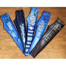 Calça Legging Estampa Jeans Ótima Qualidade Oncinha Preto