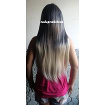 Peruca Com Franja Californiana Ombre Hair Preta C Loiro Mix