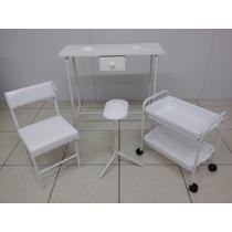 Kit Manicure Branco Mesa, Carrinho, Suporte E Cadeira P